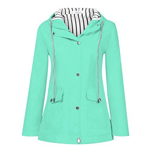 (DaySeventh Women Solid Rain Jacket Outdoor Plus Waterproof Hooded Raincoat Windproof Mint Green)