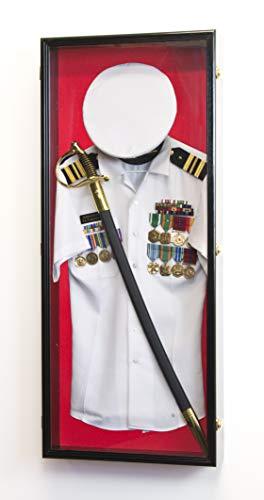 Military Shadow Box Display Case Uniform Cap Hat Sword Medals Cabinet Wall Frame - Lockable (Black Finish, Red Felt Background)