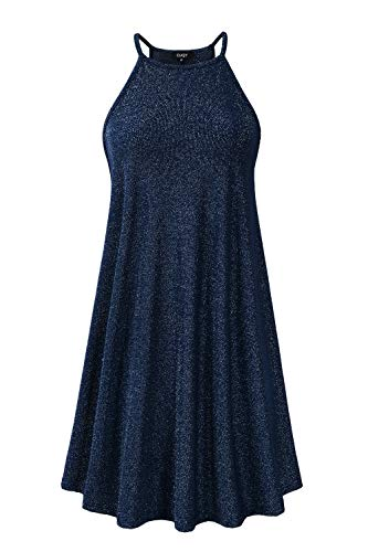 - CUQY Womens Cocktail Sequined Dress Teens Halter Neck Mini Dress with Sleeveless (FBA) (Navy, XXL)