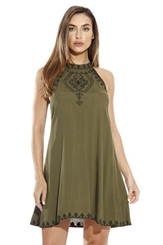 Just Love 401559-OB-S Short Dress/Summer Dresses for Women Olive/Black