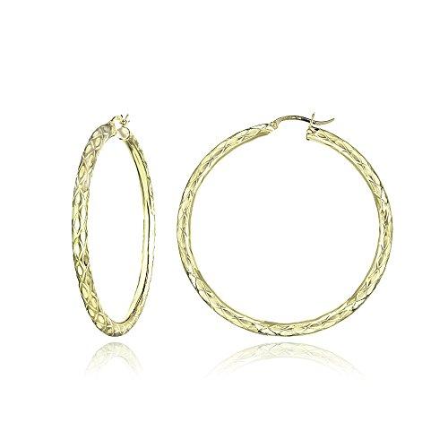 14K Gold Diamond-Cut 3mm Lightweight Large Round Hoop Earrings, 57mm by Hoops & Loops