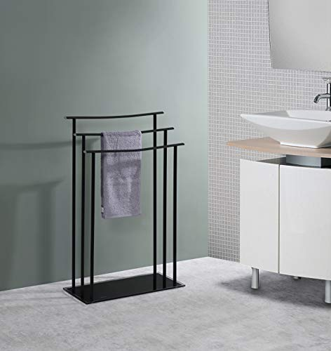 Kings Brand Furniture – Silfax 3 Tier Metal/Glass Freestanding Bathroom Towel Rack Stand, Black