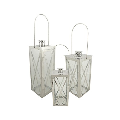 - Christmas Central Set of 3 Silver Stainless Steel Finish Cottage Style Pillar Candle Holder Lanterns 18