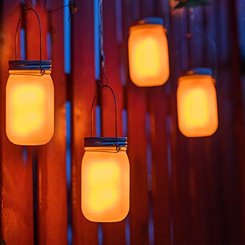 Solar Mason Jar Light with The Flickering Flame Effect(Mason Jar/Hanger Included) 4 Pack,Outdoor Solar Table Light for Patio Yard Garden Party Wedding Christmas,Outdoor Decorative Hanging Light -