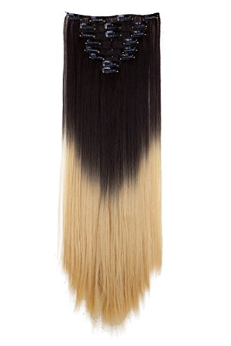 Ombre Clips in on Synthetic Hair Extensions Full