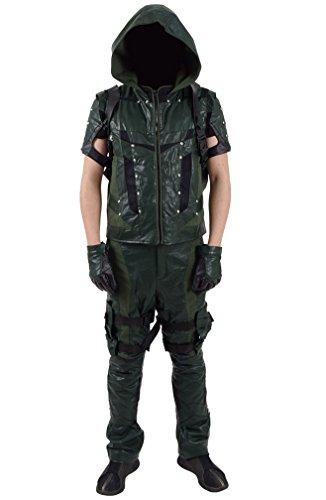 Xiao Maomi Mens Halloween Leather Suit Full Set Cosplay Costume (Man-M, Green) (Green Arrow Suit)