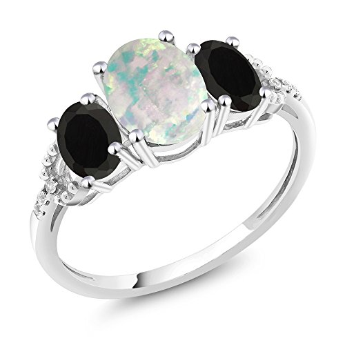 Gem Stone King 10K White Gold Diamond Accent 3-Stone Engagement Ring set with 1.88 Ct Cabochon White Simulated Opal & Black Onyx (Size 8)
