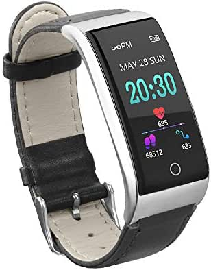 Anyasun Color Screen Fitness Tracker, ECG PPG Heart Rate Blood Pressure Smart Watch with PU Watchband, Step Counter,Calories,Sleep Monitor,Alarm Clock,Call SMS Notice for Men Women Teens