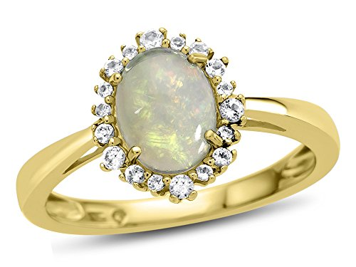Finejewelers 10k Yellow Gold 8x6mm Oval Opal with White Topaz accent stones Halo Ring Size 5.5 by Finejewelers