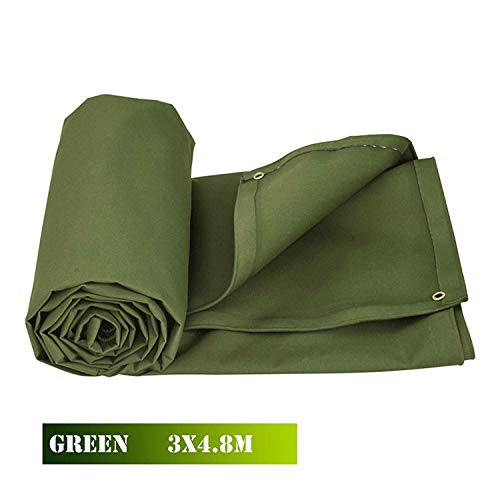 Bkisy 10ft x 16ft Olive Drab Canvas Tarp Heavy Duty 18 oz Cotton Material Tarpaulin Tarp Water Resistant and Breathable for All Purpose Cotton Duck Canvas Tarp