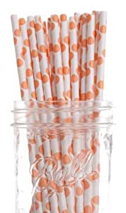 Dress My Cupcake Orange Polka Dot Paper Straws, 25-Pack