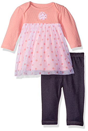 BON BEBE Baby Girls' 2 Piece Tulle Dress Set with Lap Shoulder Opening and Jeggings, Coral Polka Dots, 0-3 Months - Dot Tulle