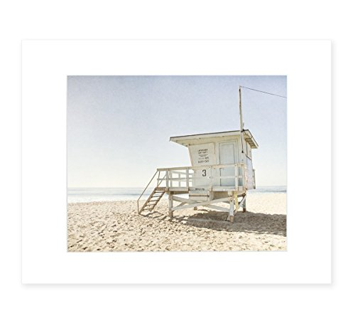 Summer Beach Art, California Coastal Wall Decor Picture, 8x10 Matted Photographic Print (fits 11x14 frame), 'Malibu Lifeguard Tower' by Offley Green