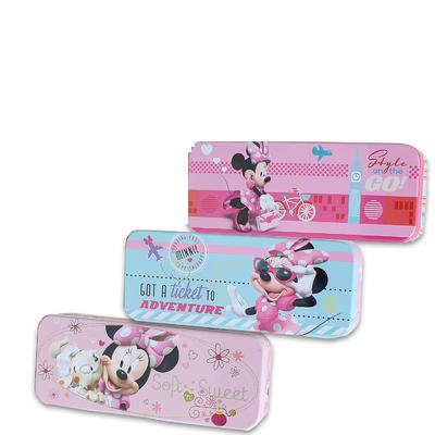 Disney Minnie Mouse Tin Pencil Case for Markers, Pencils, Crayons, Colored Pencil, & Erasers - (Set of 3)