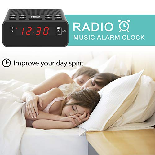 Dorzu Alarm Clock Radio,FM Digital Clock Radio with USB Charger Port for Bedroom