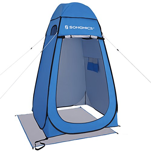 SONGMICS Portable Pop up Tent, Dressing Room Privacy Shelter, for Outdoor Camping Fishing Beach Shower Toilet, with Zippered Carrying Bag, Blue UGPT01BU