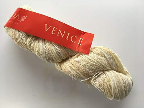 Feza Venice #30 Cream, White, Beige, Hint of Metallic Accent, Hand-Tied Wool Nylon Silk Cashmere Mohair Yarn 100 ()