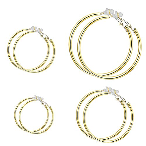 XGALA Gold Tone 30,40,50,60MM Stainless Steel 4 Pairs Clip On Hoop Earrings Jewelry Set Non Pierced ()
