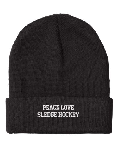 Fastasticdeal Peace Love Sledge Hockey Embroidered Beanie Cap