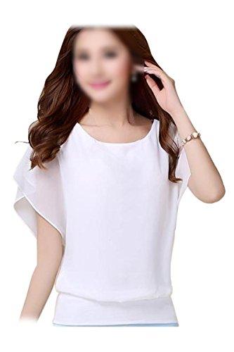TOOGOO(R)Blusa de manga de la gasa gorda del color del caramelo de carrera de senora ropa de club Blanco XL