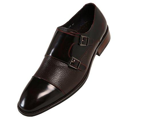 Asher Green Mens Pebble Grain and Box Calf Leather Dress Shoes, Double Monk Strap Cap Toe - Calf Grain