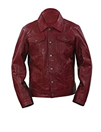 Men's Trucker Slim Fit Casual Burgundy Leather Shirt Jeans Jacket