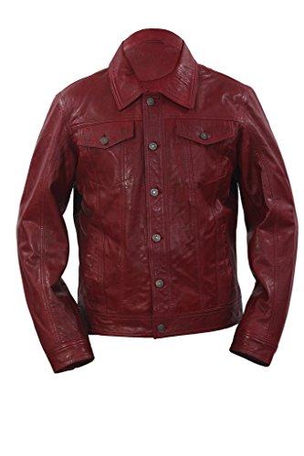 Trucker camicia casuale Borgogna in pelle rivestimento dei jeans da uomo