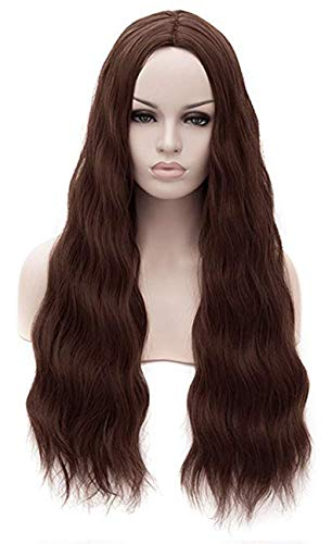 ANOGOL Hair Cap+Dark Brown Middle Part Water Wave Synthetic Hair Wigs for Cosplay Party Halloween Show ()