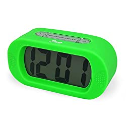 Slash Easy Setting Easy Read Silicone Protective Cover Digital Silent LCD Large Screen Bold Numbers Bedside Desk Alarm Clock with Snooze, Night Light Function, Battery Powered (Green) S10109