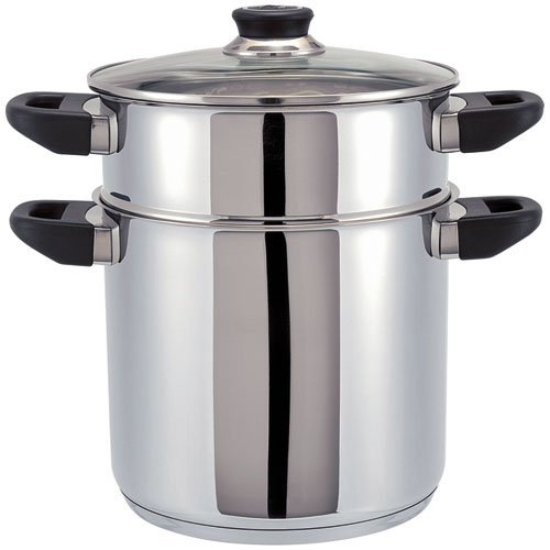 Beka Polo 2-Tier Couscous Pan with Glass Lid, Stainless Steel, Silver, 24 cm by Beka Allinox 12030244