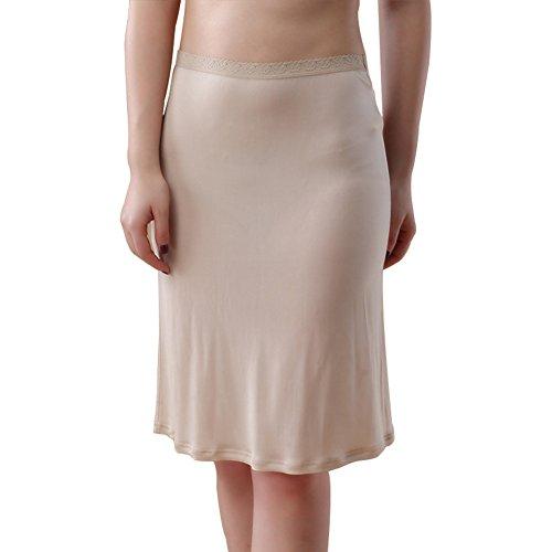 (Hoffen 100% Silk Smooth Half Slip Underskirt (M, Nude))