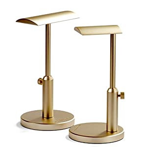 Woo Audio HPS-TG Universal Adjustable Height Aluminum Headphone Stands (Gold, Double)