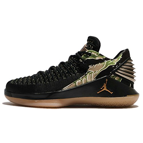 NIKE Jordan Kid's Air xxxii Low BG, Black/Metallic Gold-Gum Yellow, Youth Size 4.5 by NIKE