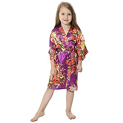 37e066ff52f ... JOYTTON Girl s Satin Floral Kimono Flower Girl Getting Ready Robe For  Wedding