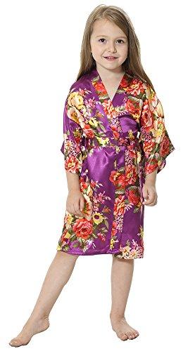 JOYTTON Girl's Satin Floral Kimono Bathrobe Flower Girl Robe (14,Purple)]()