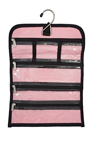 8'' x 11'' Hanging Travel Jewelry & Accessories Organizer Roll Bag (White Polka Dots & Pink/Pink) by Simple Accessories (Image #4)