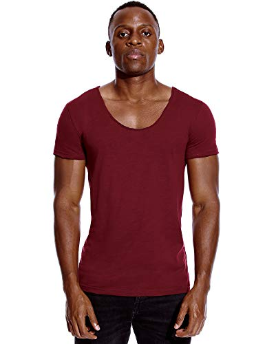 Deep V Neck T Shirt for Men Low Cut Scoop Invisible Tee Vee Top Burgundy Red L