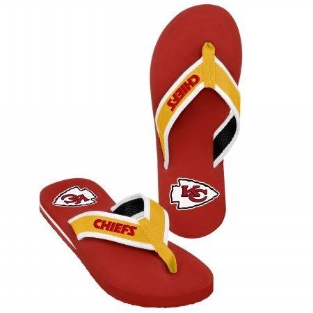NFL Kansas City Chiefs Contoured Flip Flops - Red/Gold (6/7) by Football Fanatics