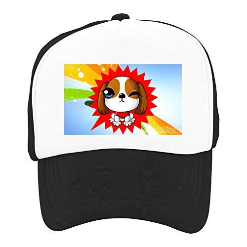 EThomasine Kids Girls Boys Mesh Cap Trucker Hats Naughty Puppy Adjustable Hat Black by EThomasine