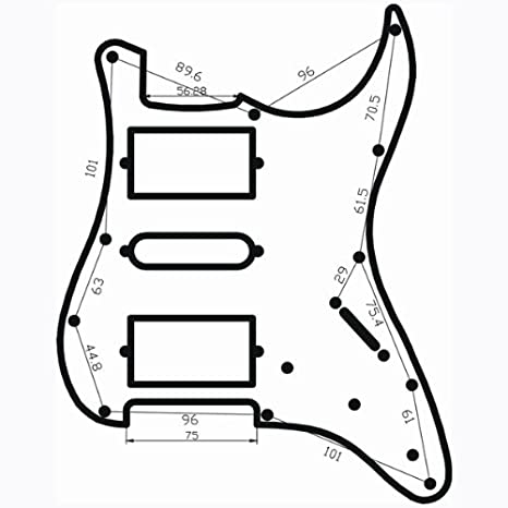 Loaded Prewired Electric Guitar Pickguard Pickups 11 Hole Hsh Black
