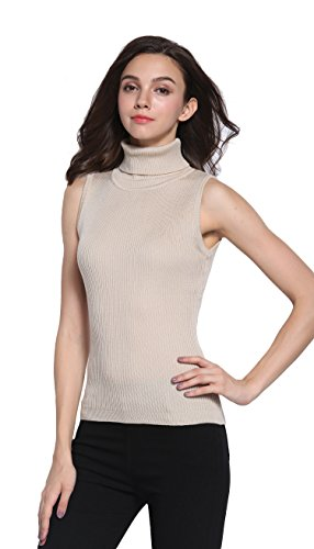 Sofishie Sleeveless Ribbed Turtle Neck Sweater Tunic - Apricot - Large