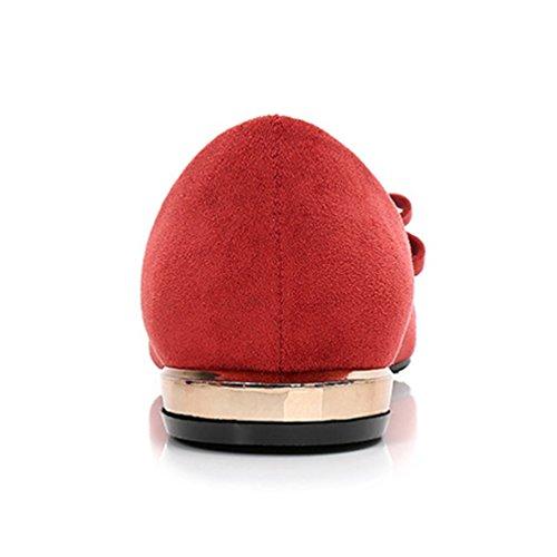 Un Femme Loisir Mocassins Ballerines Rouge Bowknot Résistant Vin Jrenok Chaussures Cuir Suédé Bas À Avec Talon Confort Élégant Gentil L'usure FlKJ1c