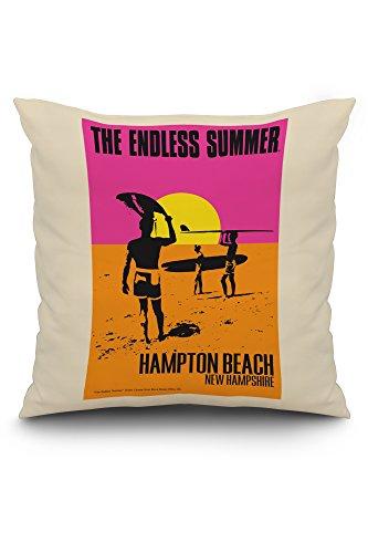 Hampton Poster Bed - Hampton Beach, New Hampshire - The Endless Summer - Original Movie Poster (20x20 Spun Polyester Pillow, White Border)