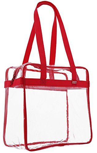 """Ensign Peak Clear Tote Bag NCAA, NBA & NFL Stadium Approved - 12"""" X 12"""" X 6"""" - Shoulder straps and zippered top, Red"""