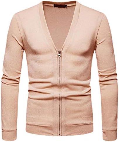 Men Casual V Neck Zipper Long Sleeve Warm Solid Color Knitted Sweater Cardigan Beige M / Men Casual V Neck Zipper Long Sleeve Warm Solid Color Knitted Sweater Cardigan Beige M
