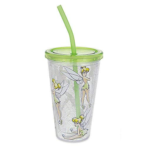 (Disney Parks Tinker Bell Tumbler with Straw Drink Cup with)