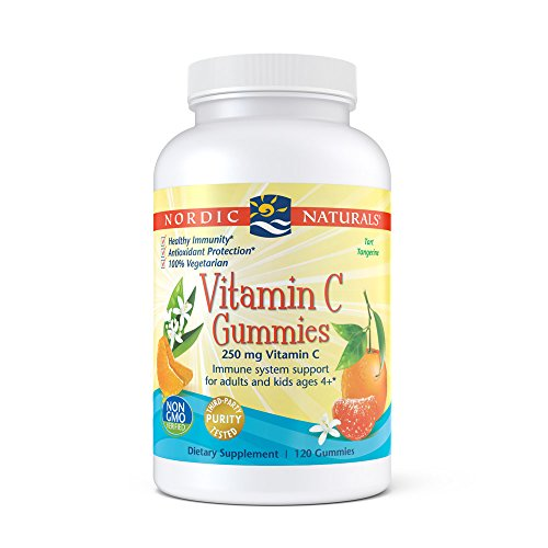 Nordic Naturals Vitamin C Gummies - Chewable Tangerine Gummy Provides Daily Dose Of Essential Nutrient Vitamin C, Immune System Support and Antioxidant Protection for Kids and Adults, 120 Count