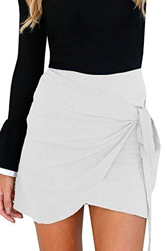Gamery Women's Basic Waistband Stretch Bodycon Draped Tube Bandage Mini Skirt Large White