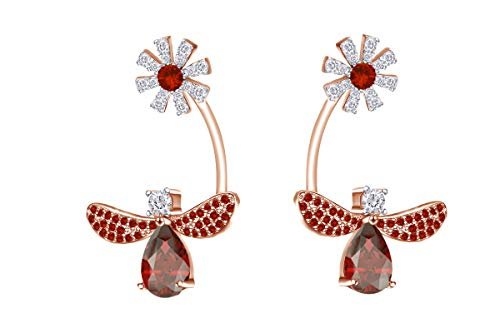 Wishrocks Round Simulated Garnet With Cubic Zirconia Bee Daisy Flower Drop Earring In 14k White Gold Over Sterling Silver