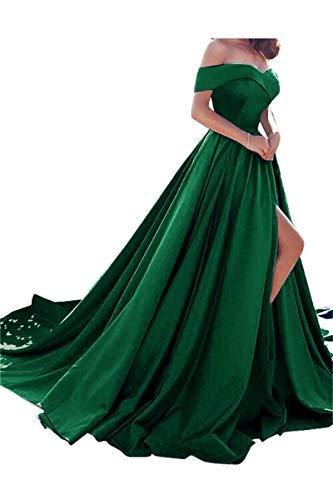 (Homdor Split Off Shoulder Prom Evening Dress For Women A-Line Satin Formal)